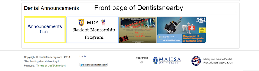 Example dental announcements