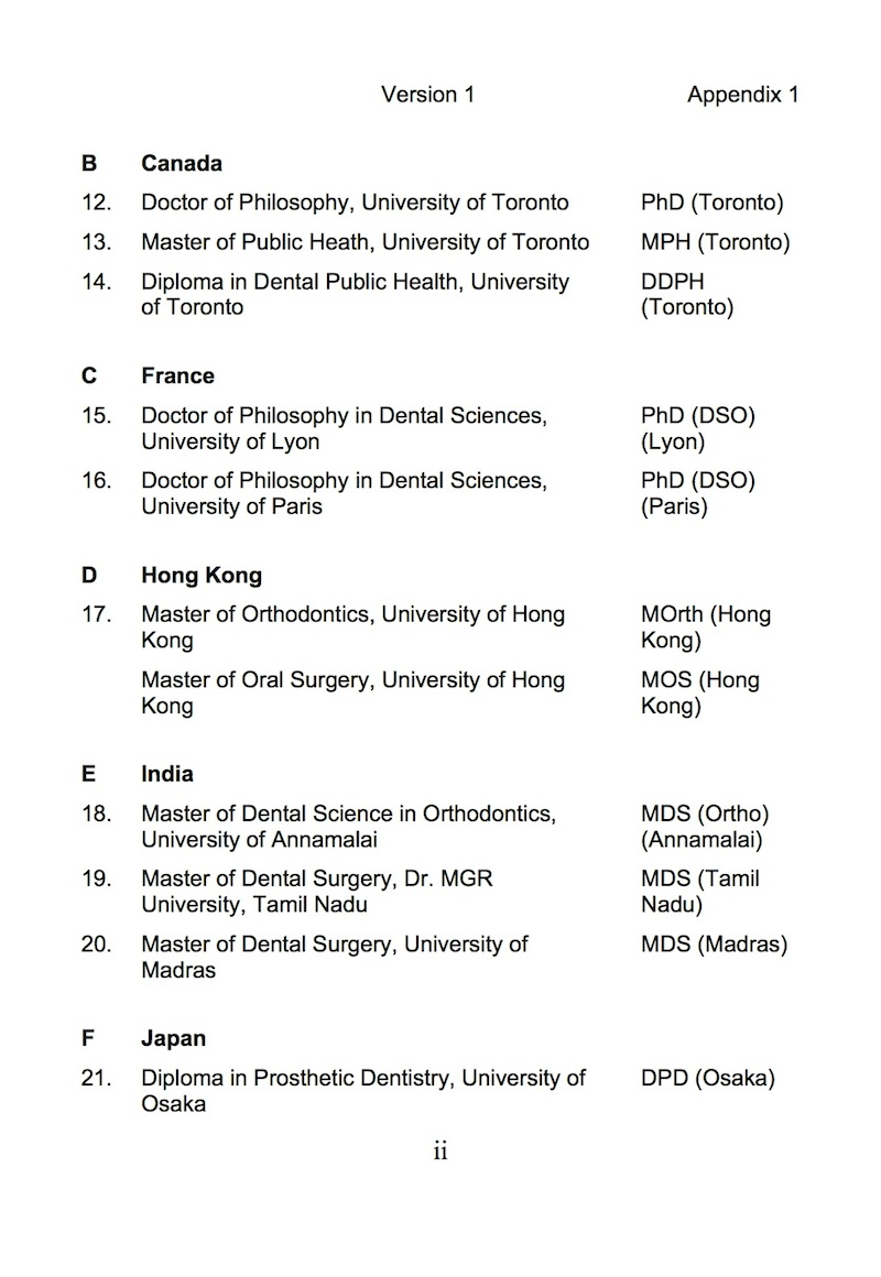 list of recognized dental qualifications in malaysia